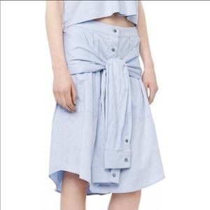 NWT T Alexander Wang blue tie front skirt, size 6